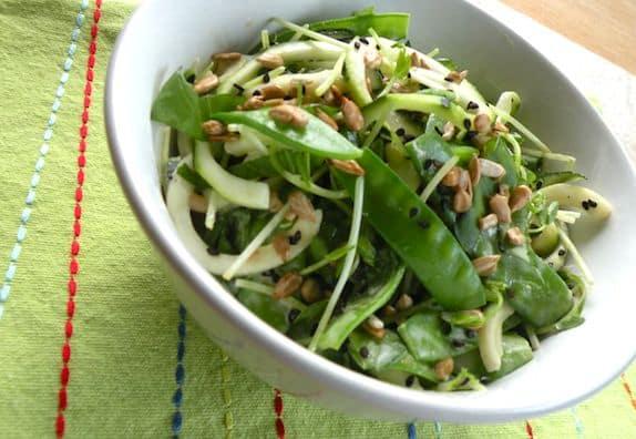 Zucchini snow pea salad