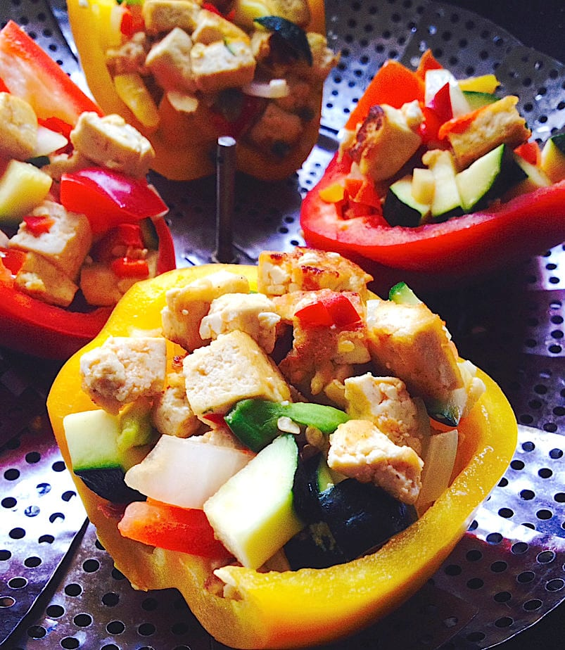 Tofu Veggie Stuffed Peppers from Joelle Amiot's JarOHoney
