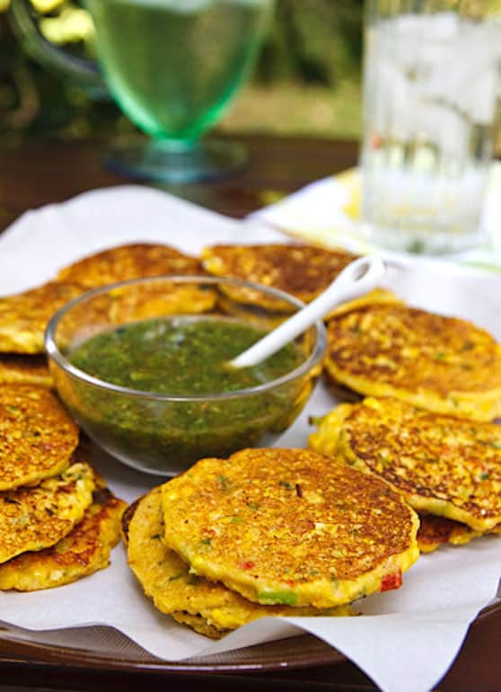 Vegan Corn fritters with cilantro sauce