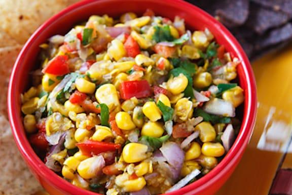 Fresh corn and tomatillo salsa