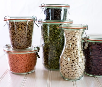 Jars with legumes