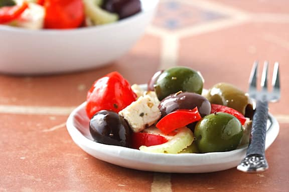"Olive Bar Medley with Tofu ""Feta"""