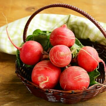 Radishes in a basket