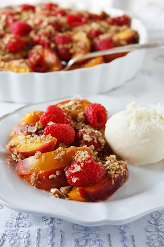 Unbaked vegan peach and raspberry crumble recipe