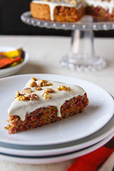vegan cranberry-carrot cake with maple-cream cheese frosting