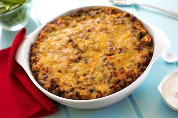 Black bean and zucchini tortilla casserole chilaquiles recipe