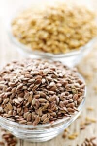 brown and golden flaxseeds