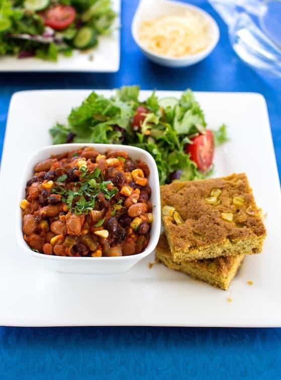 Classic veggie chili and cornbread recipe