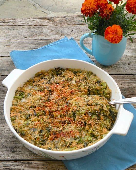 vegan cheddar broccoli rice casserole