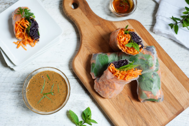 Forbidden Rice Spring Rolls from Leslie Cerier
