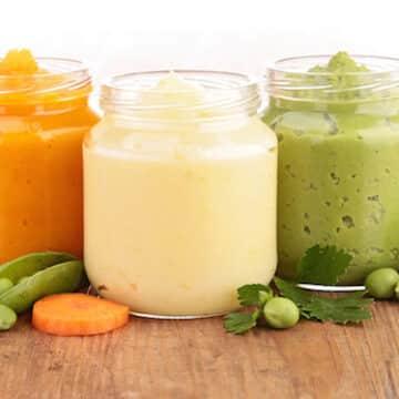 Carrots, potatoes, and peas pureed organic baby foods