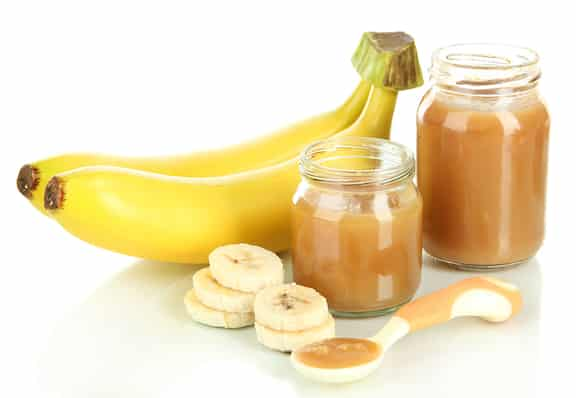 Homemade banana puree baby food