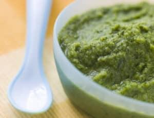Broccoli and spinach homemade organic baby food puree