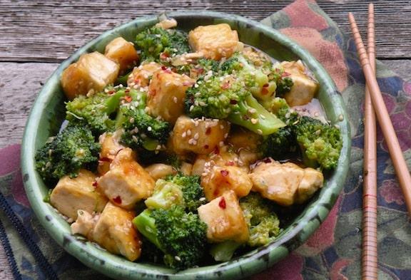 Sesame-ginger tofu and broccoli