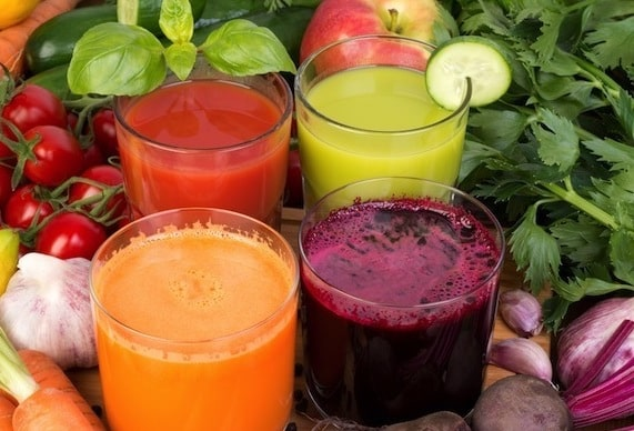 Vegetable juices, tomato, carrot, cucumber and beet