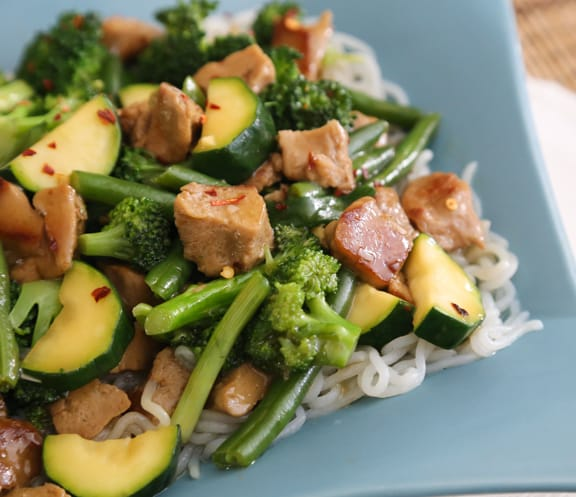 Triple Jade Stir-Fry (with broccoli, green beans, and zucchini) recipe