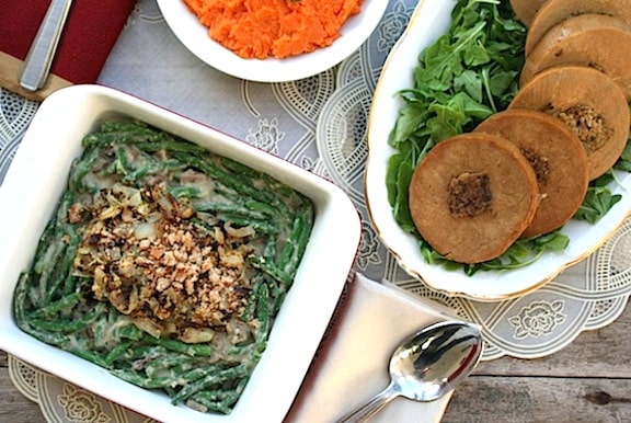 Tofurky vegetarian roast with green bean casserole