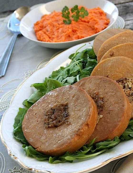 Tofurky vegetarian roast with sweet potatoes