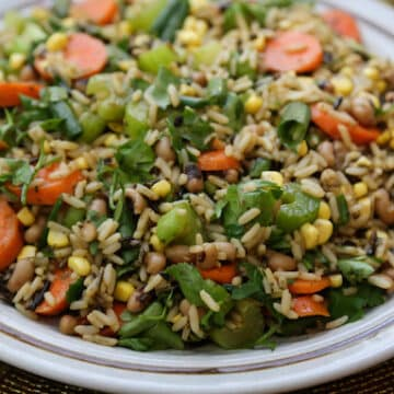 Wild Rice Salad with corn and black-eyed peas
