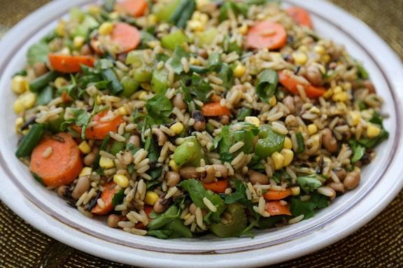 Wild Rice Salad with corn and black-eyed peas