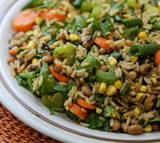 Wild Rice Salad with corn and black-eyed peas recipe