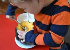 Eating acorn squash