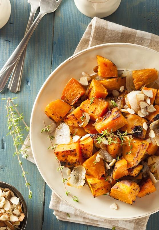 Simple garlic-roasted sweet potatoes