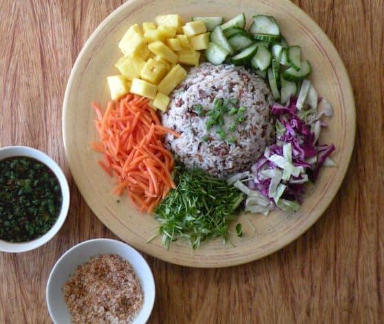 Thai Composed Rice Salad (Kao Yum Pahk Dai) recipe