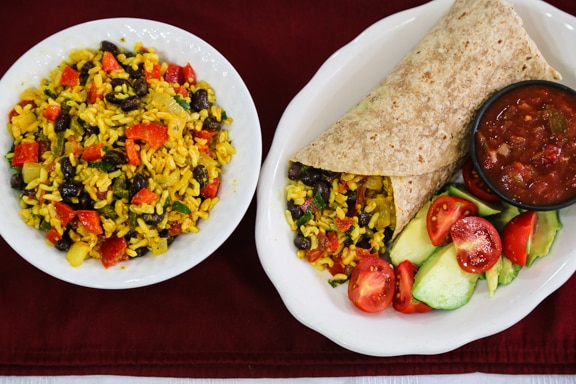 Yellow rice and black bean burritos