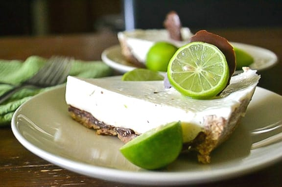 Chocolate-coated vegan key lime pie recipe