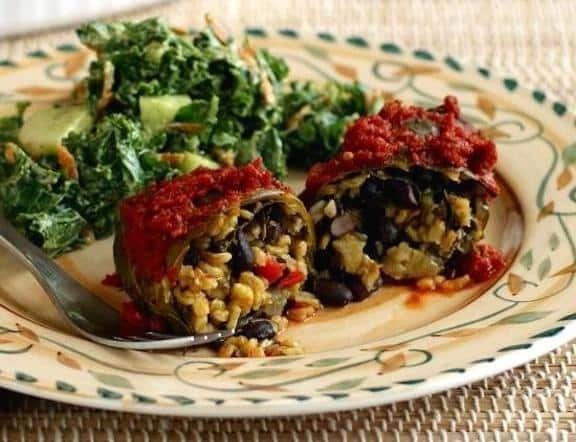 Collard Greens-Wrapped Yellow rice and black bean enchiladas