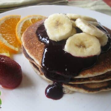 Buttermilk Pancakes with Blueberry Syrup from Caryn Hartglass