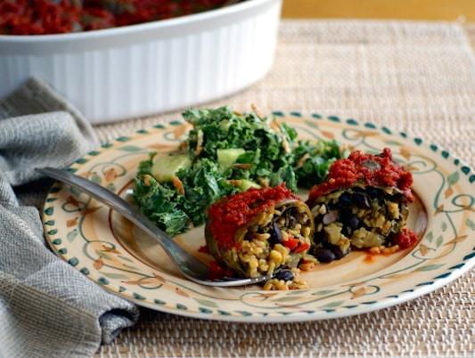Collard Greens-Wrapped Yellow rice and black bean enchiladas recipe