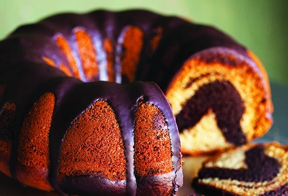 Vegan Chocolate Vanilla Bunt Cake