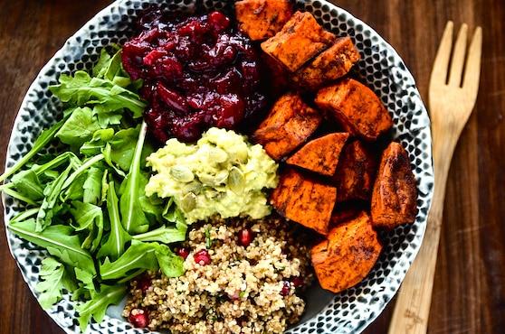 Sweet potato, cranberry, and quinoa power bowl