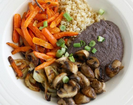 Roasted veggie and black bean bowl
