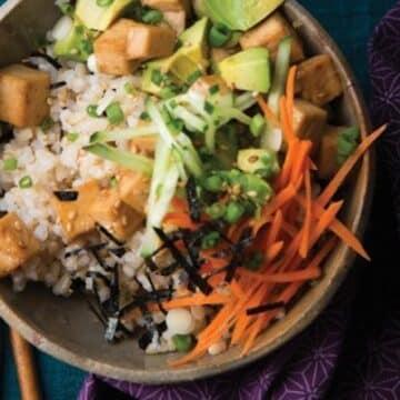 Sushi Rice bowls with tofu teriyaki