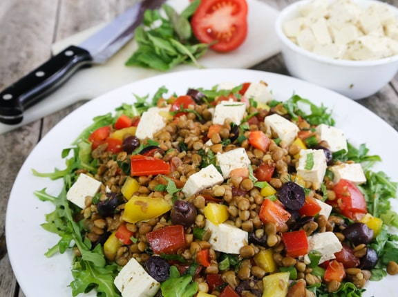 "Greek Flavored Lentil Salad with Tofu ""Feta"""
