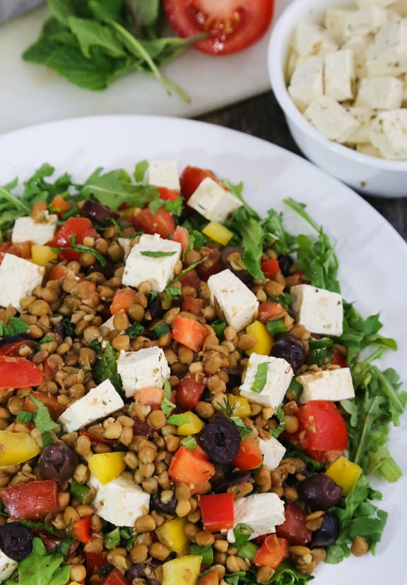 "Greek Flavored Lentil Salad with Tofu ""Feta"" recipe"