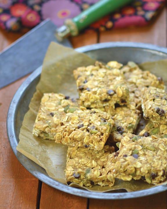 Pumpkin Seed and Chocolate Chip Oatmeal Breakfast Bars by Dreena Burton