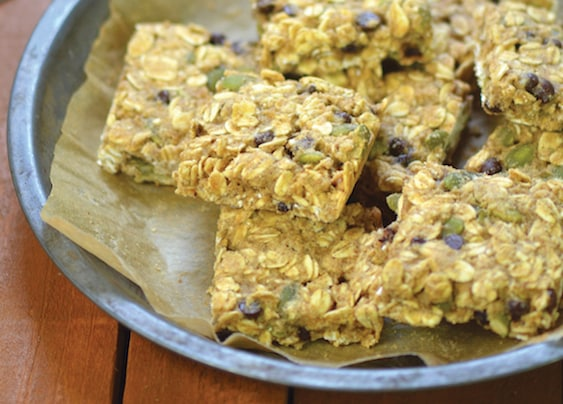 Pumpkin Seed and Chocolate Chip Oatmeal Breakfast Bars