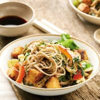 Sesame soba noodles with collard greens recipe