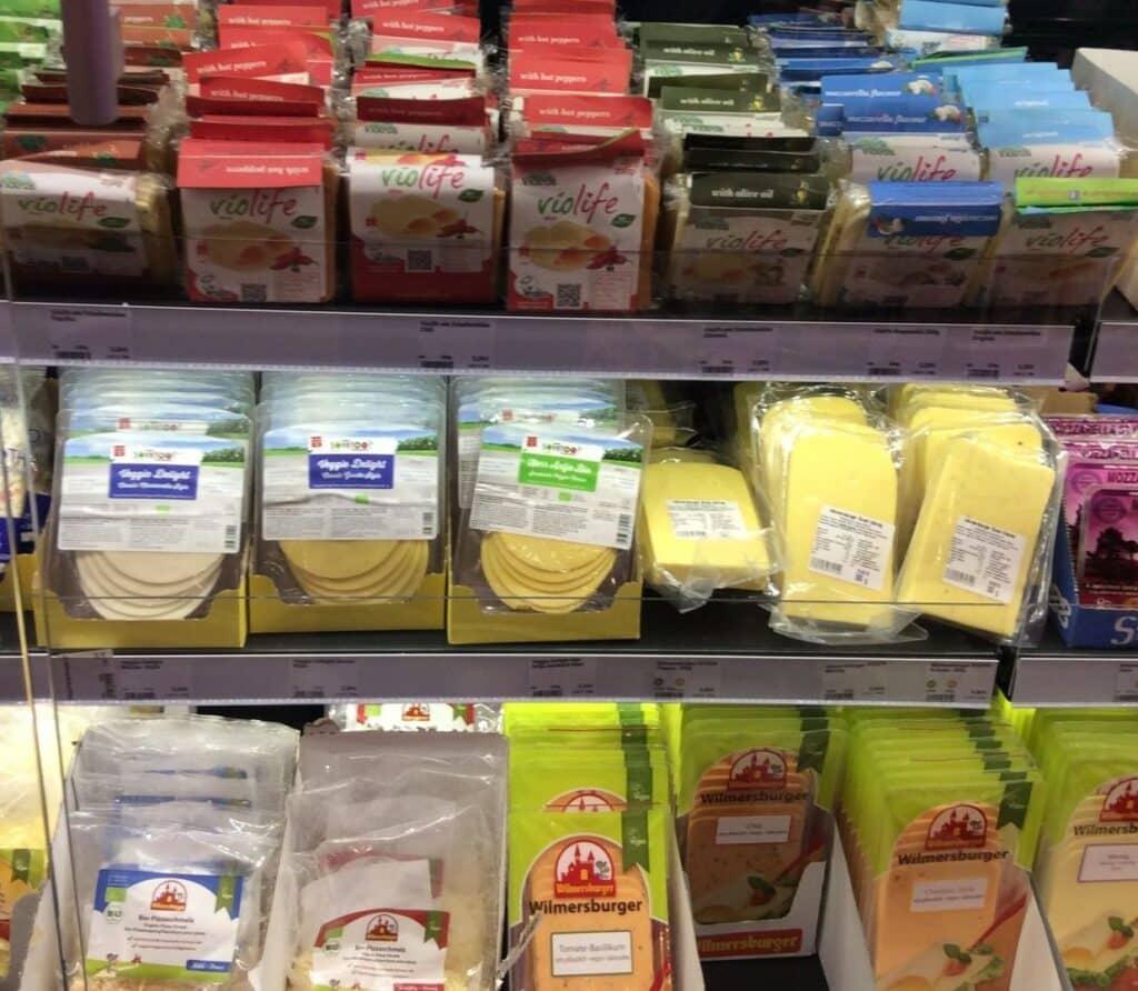 Vegan cheeses at Veganz