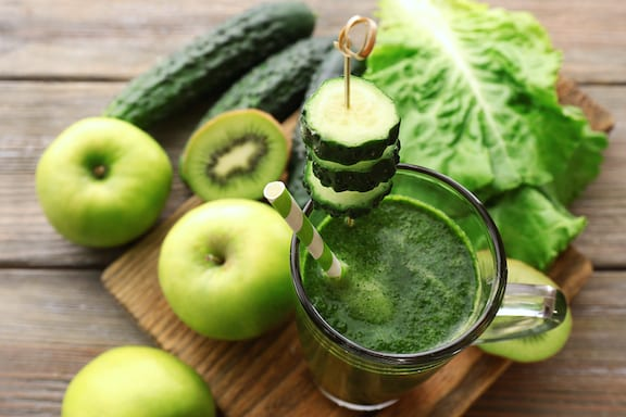 fresh green vegetable and fruit juice