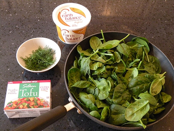Ingredients for dairy-free creamed spinach