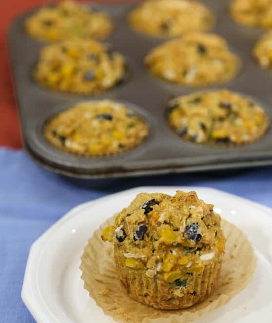 Vegan Black Bean Zucchini Corn Muffins