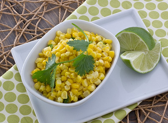 Fresh corn sauté with coconut milk and sriracha