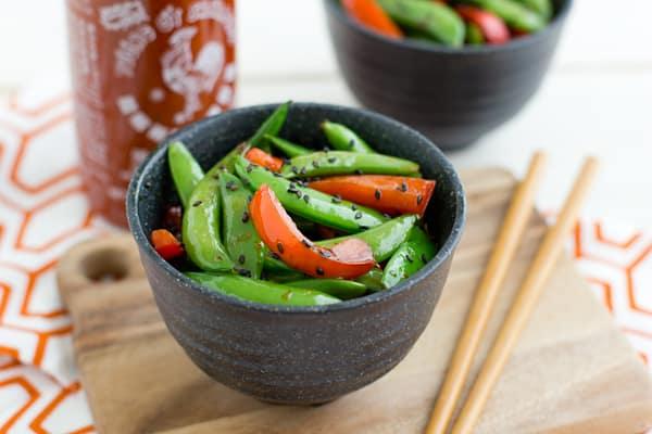 Sriracha spiced snap peas