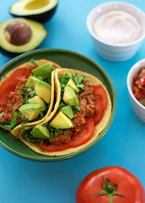 Tempeh and walnut tacos