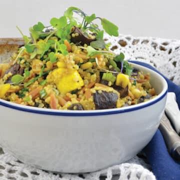 Vegan Roasted Zucchini and Mushroom Pilaf Bowl
